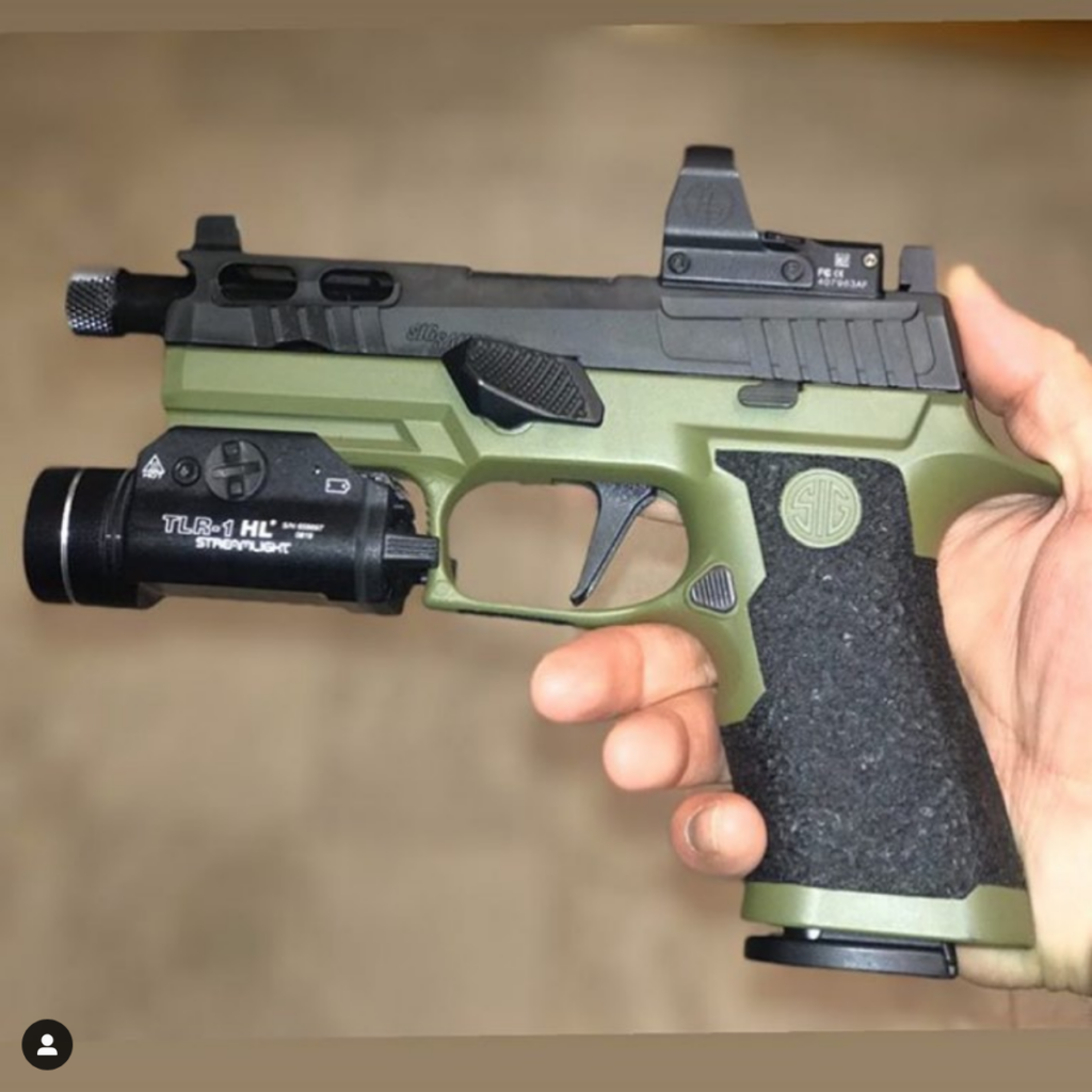 od green sig p320 x-carry cerakote and stippling